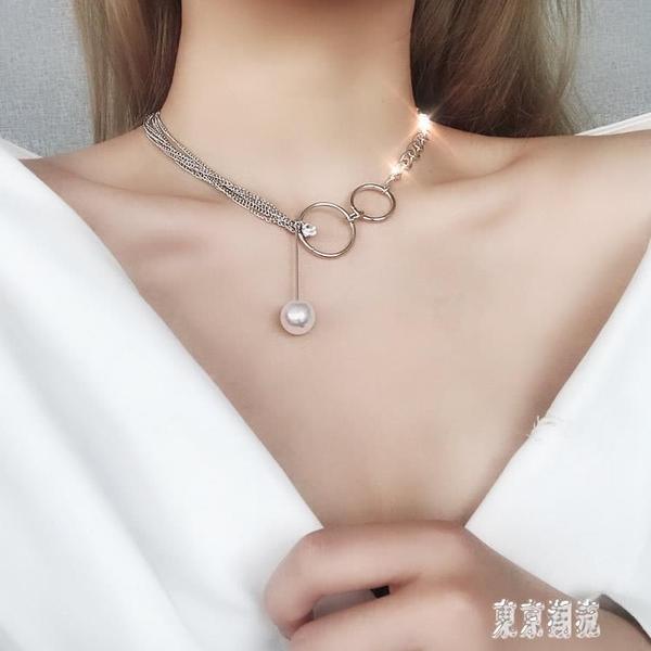 歐美哥特風鎖骨鏈女日韓版原宿風簡約短款項鏈頸帶頸鏈學生脖子飾品 LJ6836『東京潮流』