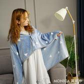 辦公室小毛毯被子加厚雙層冬季懶人披肩斗篷小毯子女單人午睡蓋腿   莫妮卡小屋