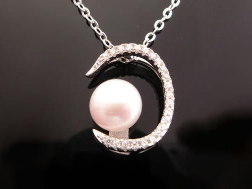 §海洋盒子§☆§質感璀璨小鋯石C型珍珠。純銀項鍊《925純銀外鍍正白k》