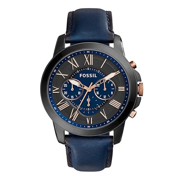 【Fossil】Grant羅馬商務三眼時尚摩登腕錶-紳士藍/FS5061IE/台灣總代理公司貨享兩年保固