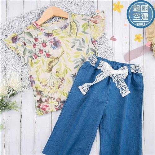 韓國童裝~森林綠系花繪小飛袖上衣(270431)【水娃娃時尚童裝】