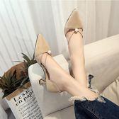 低跟鞋 春夏尖頭單鞋女細跟中跟淺口高跟鞋貓跟珍珠中空涼鞋舒適時尚 傾城小鋪
