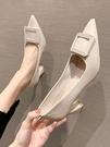 粗跟鞋 春秋黑色單鞋女2021年春季新款百搭設計感小眾高跟鞋粗跟伴娘鞋夏