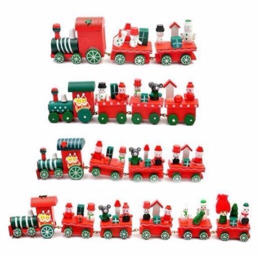 【BlueCat】聖誕節四台小火車桌面擺飾 (中號)