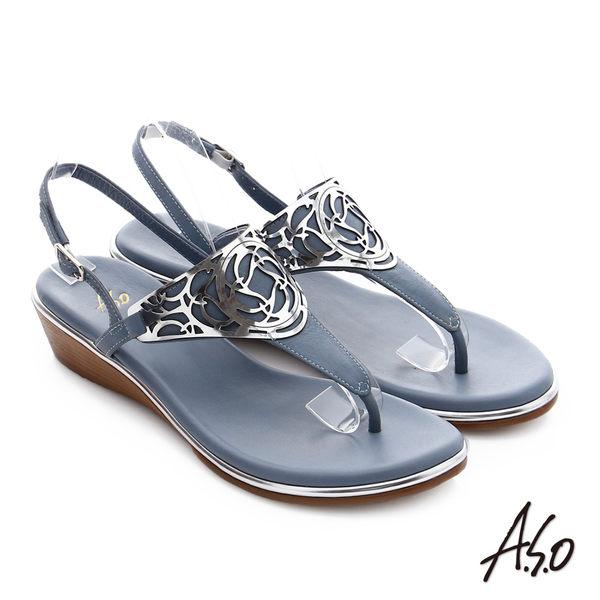 A.S.O 嬉皮假期 T字飾釦拼接涼鞋 藍