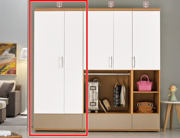 【森可家居】柯瑪2.7尺單吊衣櫃(單只-編號1) 7ZX180-5 衣櫥 白色 木紋質感 無印風 北歐風