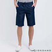 【GIORDANO】男裝丹寧抽繩腰修身直筒五分褲 ( 01 深藍色 )