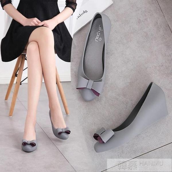 2019新款蝴蝶結尖頭果凍鞋女夏季雨鞋涼鞋厚底楔形簡約韓版旅游鞋舒適 韓慕精品