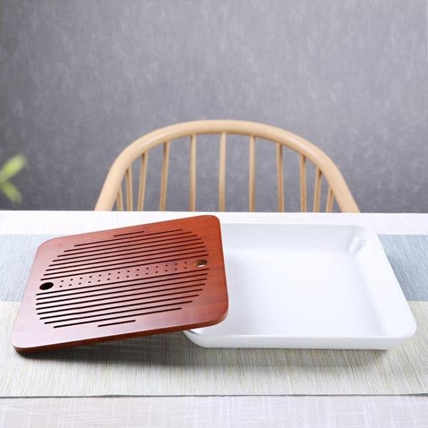 萬三茶莊 簡約茶盤密胺家用竹制儲水盤 大號壺承托盤個性干泡臺