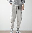 日系INS工裝褲男束腳褲寬鬆多口袋哈倫小腳褲機能嘻哈休閒褲