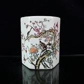 古玩收藏 民國粉彩花鳥六方筆筒仿古瓷器喜上枝頭筆