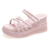 【Sp house】夏季甜美女孩絨面厚底2穿涼拖鞋(2色可選)