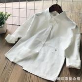 女童長袖襯衫-童襯衣童裝春季新品女寶寶可愛純色白襯衫 兒童女孩背后上衣 糖糖日系