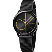 Calvin Klein CK Minimal 經典大LOGO腕錶-黑/35mm K3M224X1