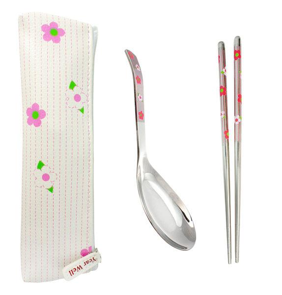 GREEN BELL綠貝 粉紅小花不鏽鋼環保餐具組 (含筷子+湯匙+收納袋) 環保筷 隨身餐具