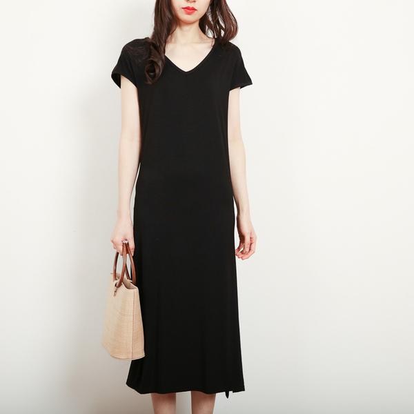 +R1913# 短袖連衣裙女夏莫代爾韓版女裝V領性感裙長裙子 &小咪的店&