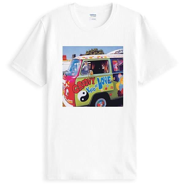 Groovy Love短袖T恤-白色 和平 反戰 Woodstock 樂團 圖案 搖滾 音樂祭