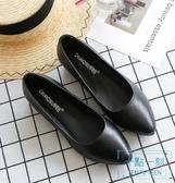 尖頭鞋 尖頭單鞋女平底軟底職業空姐女鞋黑色皮鞋舒適上班酒店 十點一刻
