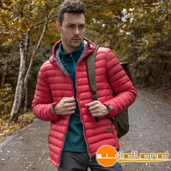 Wildland荒野 0A22112-08紅色 男700FP連帽輕量羽絨外套
