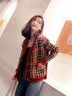 外套女  針織開衫女2019秋冬新款復古v領寬鬆格子外套百搭慵懶風chic毛衣【快速出貨】