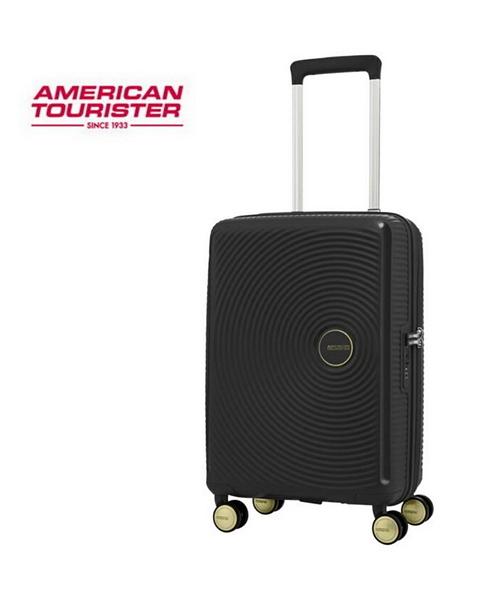 AT美國旅行者 2020新款防爆拉鍊 Curio立體唱盤刻紋硬殼拉鍊箱 登機箱/旅行箱-20吋(黑/金) AO8