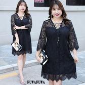 (現貨+預購 FUWAFUWA)--  加大尺碼純黑假兩件蕾絲洋裝