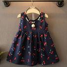 超值女童寶寶櫻桃印花背心連身裙。藍色