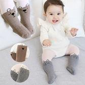 雙色線條臉譜加厚毛圈包腳褲襪 童襪 貓咪 包腳褲襪