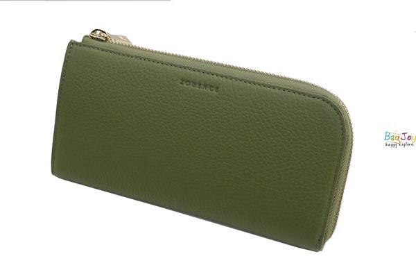 ZODENCE 西班牙牛皮 斜口設計 拉鍊長夾 橄欖綠 Z14H606A01G1