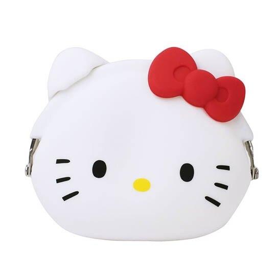 小禮堂 Hello Kitty 大臉造型矽膠口金零錢包《紅白》收納包.耳機包.p+g design4582406-78019