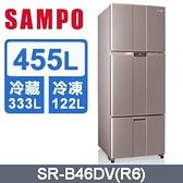SAMPO 聲寶【SR-B46DV】455公升 1級能效 變頻鋼板三門冰箱