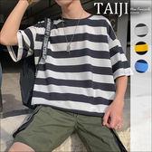 條紋短T‧黑條拼色寬條紋圓領短T‧三色【NQEL618】-TAIJI-