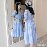 孕婦洋裝夏裝2019夏季時尚一字領寬鬆雪紡連身裙長款夏天裙子女 aj14087『pink領袖衣社』
