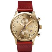 TRIWA  Lansen Chrono系列 濃醇紅酒經典時尚腕錶-金X紅