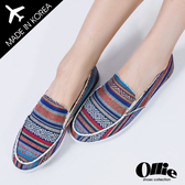 [現貨] 韓國Ollie 懶人鞋 正韓製 波希米亞風 條紋印花 帆布平底懶人鞋【F720122】深藍 / 版型偏小