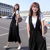 漂亮小媽咪 韓系二件式吊帶寬褲 【P2306】套裝兩件套洋氣女夏薄韓版時尚收腰寬鬆背帶褲