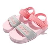 adidas 涼鞋 Adilette Sandal K 粉紅 灰 魔鬼氈 童鞋 中童鞋 愛迪達 【ACS】 FY8849