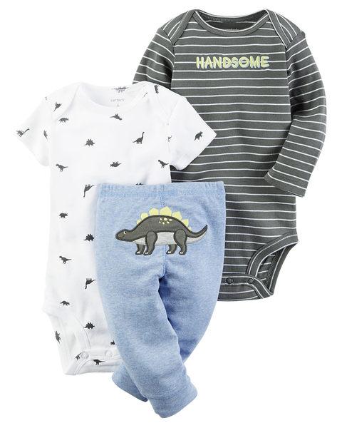 3件組長短袖包屁衣+長褲套裝:  水藍恐龍: 126G595
