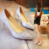 高跟鞋女  百搭細跟尖頭銀色婚鞋新娘鞋單鞋女   小時光生活館