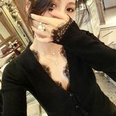 好搭針織毛衣 新品歐美范V領長袖黑色針織衫毛衣外套女修身顯瘦蕾絲開衫打底衫