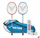 [COSCO代購] 促銷到9月28日 VICTOR BADMINTON SET 勝利羽球拍家庭組 突擊系列球拍/羽球/球袋 _CA115779