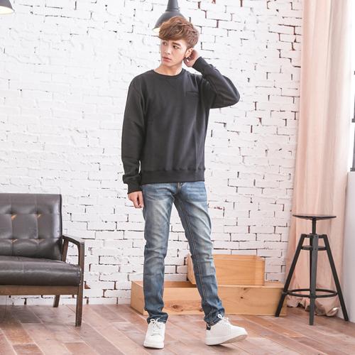 高磅數彈力皮革設計牛仔褲
