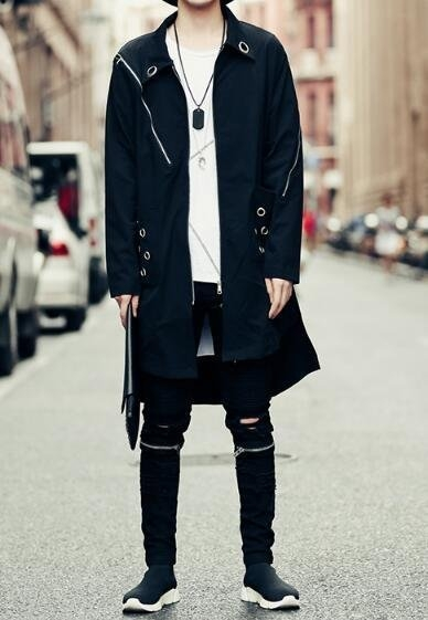 FINDSENSE Z1 韓國 時尚 潮 男 金屬圈 拉鏈裝飾 寬鬆 中長款 襯