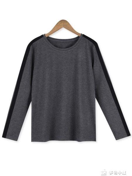 長袖t恤女式體t恤長袖寬鬆中年媽媽純棉全棉女士初秋裝年新款上衣潮 多色小屋