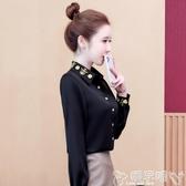 雙11民族風上衣女裝新款襯衫長袖中國風復古刺繡襯衣秋季高級感上衣