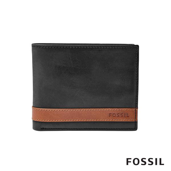 FOSSIL Quinn 黑色真皮大零錢袋皮夾 男 ML3653001