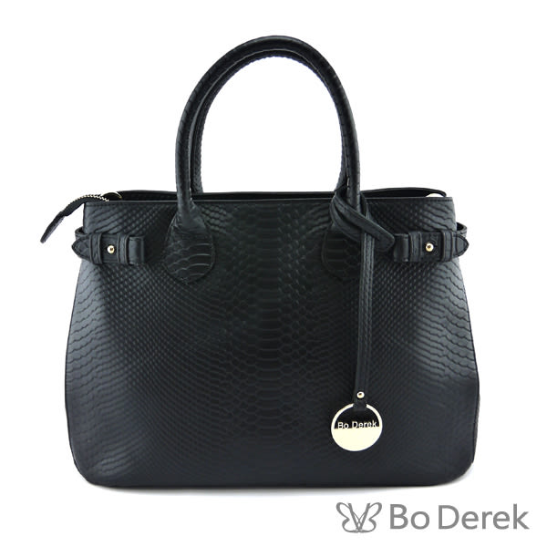 【BO DEREK】真皮鱷魚壓紋金屬吊牌手提包-黑色