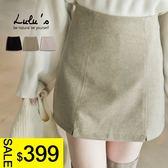 LULUS特價-P小開叉拉鍊磨毛短裙-內襯褲S-M-3色  現+預【05011290】