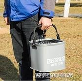 折疊桶加厚EVA打水桶帶蓋釣魚桶可折疊桶活魚桶活魚箱魚護桶帶繩CYCR 傑克型男館