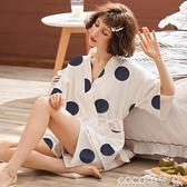 熱賣和服 和服睡衣女夏天可愛日式純棉短袖家居服汗蒸服女薄款性感兩件套裝 coco